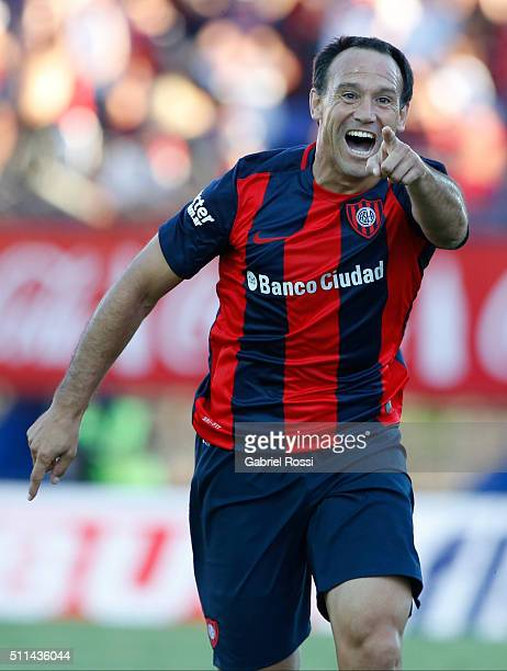 Mauro Matos of San Lorenzo celebrates after scoring the third goal of his team during the 4th round match between San Lorenzo and Velez Sarsfield as...