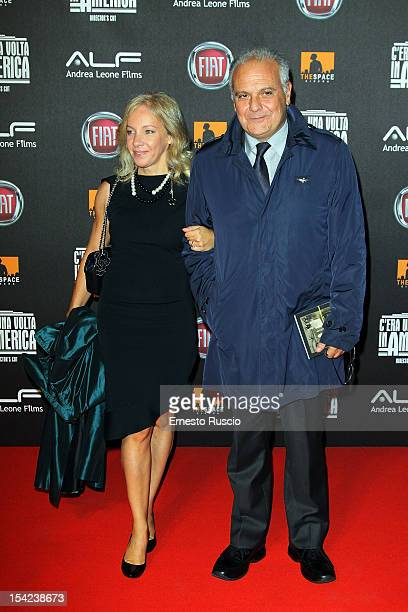 Mauro Mazza and his wife attend the 'C'era Una Volta In America Director's Cut' premiere at Space Moderno on October 16 2012 in Rome Italy