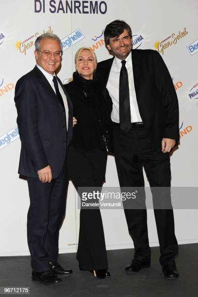 Mauro Mazza Director of Rai 1 TV presenter Antonella Clerici and Gianmarco Mazzi attend the 60th San Remo Song Festival 2010 press conference on...