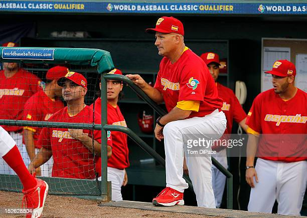 Mauro Mazzotti manager of Team Spain looks on from the dugout before game 2 of the Qualifying Round of the 2013 World Baseball Classic at Roger Dean...