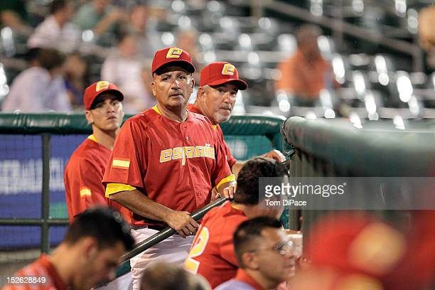 Mauro Mazzotti manager of Team Spain looks on from the dugout during game 2 of the Qualifying Round of the 2013 World Baseball Classic at Roger Dean...