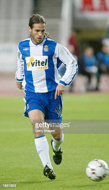 Mauro Navas of Espanyol in action during the Primera Liga match between Espanyol and Atletico Madrid played at the Olimpic Montjuic Stadium Barcelona...