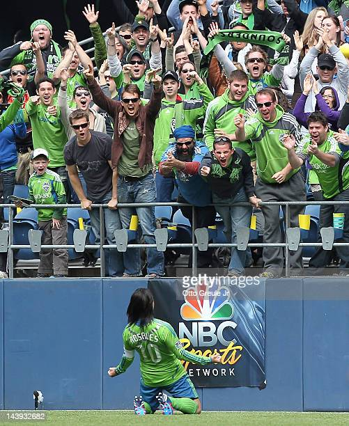 Mauro Rosales of the Seattle Sounders celebrates after scoring a goal against the Philadelphia Union at CenturyLink Field on May 5 2012 in Seattle...
