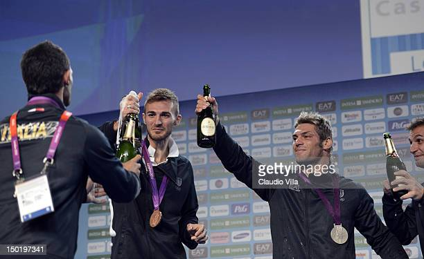 Mauro Sarmiento of Italy bronze medal in the Men's 80kg Taekwondo at Casa Italia during London 2012 Olympic Games and Clemente Russo of Italy silver...