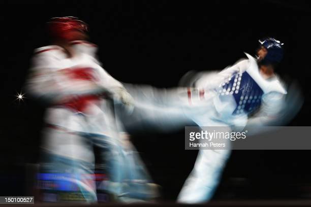 Mauro Sarmiento of Italy competes against Ramin Azizov of Azerbaijan during the Men's 80kg Taekwondo quarterfinal on Day 14 of the London 2012...