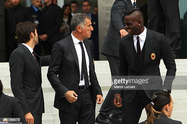 Mauro Tassotti and Mario Balotelli attend the inauguration of AC Milan's new purposebuilt headquarters Casa Milan on May 19 2014 in Milan Italy