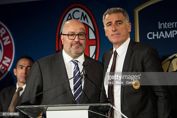 Mauro Tassotti of AC Milan and Charlie Stillitano Chairman of Relevent Sports address the crowd which including legends Mauro Tassotti of AC Milan...
