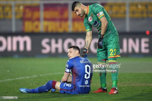 Mauro Vigorito of US Lecce greets Andrea Belotti of Torino FC after the Serie A match between US Lecce and Torino FC at Stadio Via del Mare on...