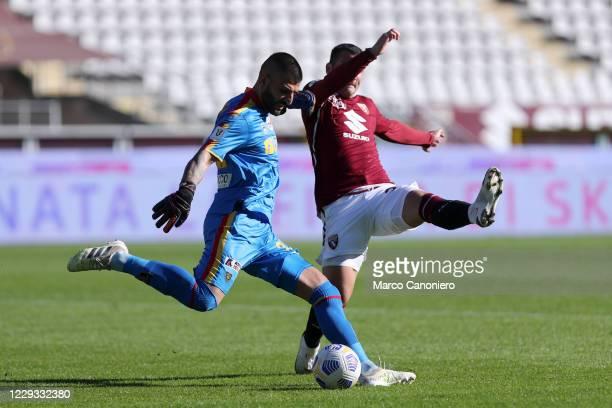 Mauro Vigorito of Us Lecce in action during the Coppa Italia match between Torino Fc and Us Lecce. Torino Fc wins 3-1 over Us Lecce.