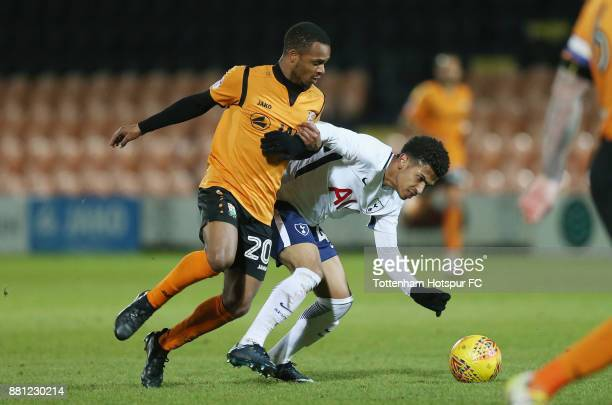 Mauro Vilhete of Barnet and Marcus Edwards of Tottenham during the Checkatrade Trophy match between Barnet and Tottenham Hotspur U23 at The Hive on...