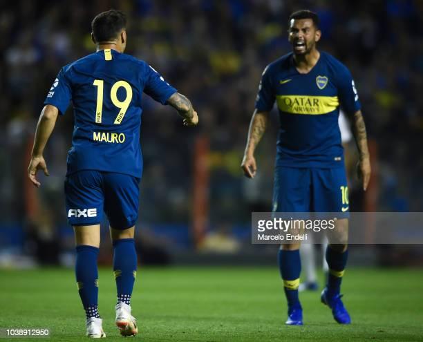 Mauro Zarate of Boca Juniors argues with Edwin Cardona of Boca Juniors during a match between Boca Juniors and River Plate as part of Superliga...