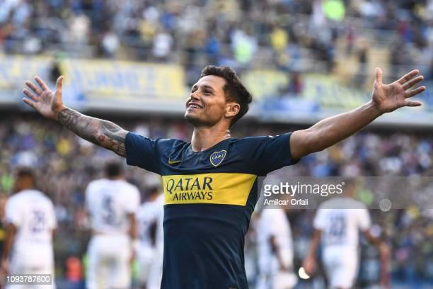 Mauro Zarate of Boca Juniors celebrates after scoring during a match between Boca Juniors and Godoy Cruz as part of Superliga 2018/19 at Estadio...