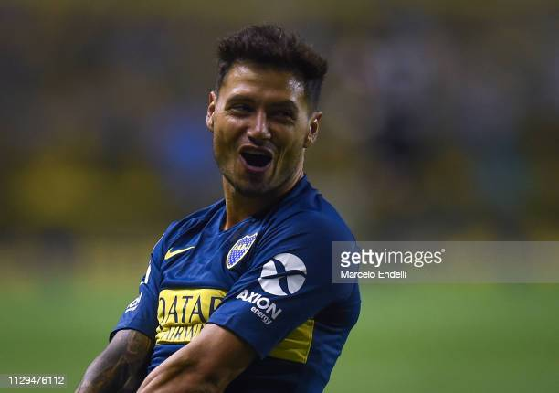 Mauro Zarate of Boca Juniors celebrates after scoring the first goal of his team during a match between Boca Juniors and San Lorenzo as part of...