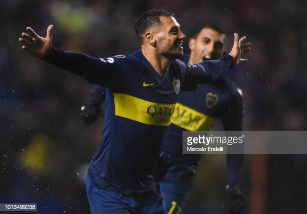 Mauro Zarate of Boca Juniors celebrates after scoring the second goal of his team during a first leg match between Boca Juniors and Libertad as part...