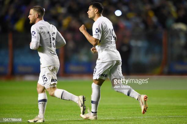 Mauro Zarate of Boca Juniors celebrates after scoring the second goal of his team during a match between Boca Juniors and Colon as part of Superliga...