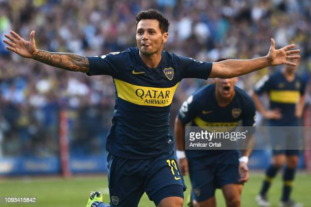 Mauro Zarate of Boca Juniors celebrates after scoring the second goal of his team during a match between Boca Juniors and Godoy Cruz as part of...