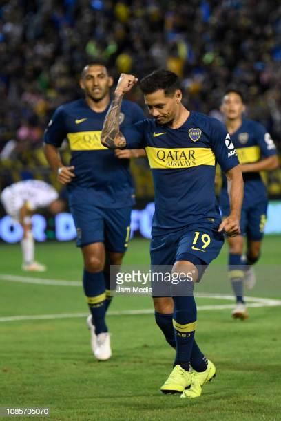 Mauro Zarate of Boca Juniors celebrates his side's second goal during a friendly match between Aldosivi and Boca Juniors at Estadio Jose Maria...