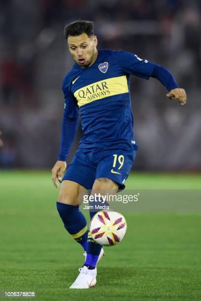 Mauro Zarate of Boca Juniors controls the ball during a match between Huracan and Boca Juniors as part of Superliga Argentina 2018/19 at Estadio...