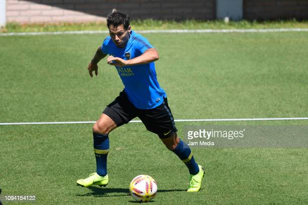 Mauro Zarate of Boca Juniors controls the ball during a training session at Complejo Pedro Pompilio on February 5 2019 in Buenos Aires Argentina