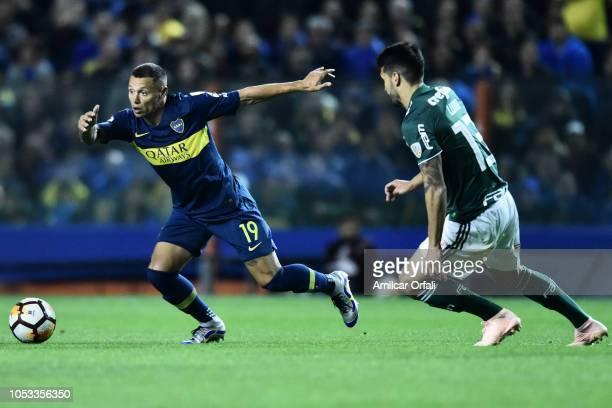 Mauro Zarate of Boca Juniors controls the ball during the Semi Final firstleg match between Boca Juniors and Palmeiras as part of Copa CONMEBOL...