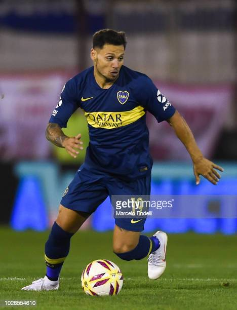 Mauro Zarate of Boca Juniors drives the ball during a match between Huracan and Boca Juniors as part of Superliga Argentina 2018/19 at Estadio Tomas...