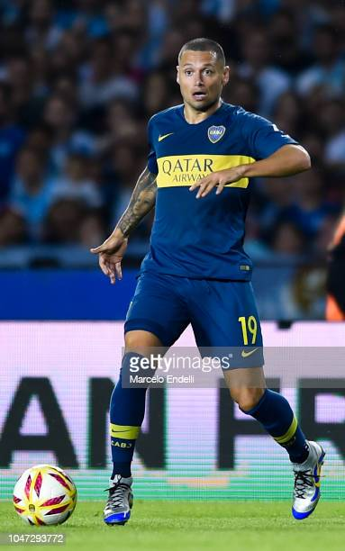 Mauro Zarate of Boca Juniors drives the ball during a match between Racing Club and Boca Juniors as part of Superliga 2018/19 at Estadio Juan Domingo...