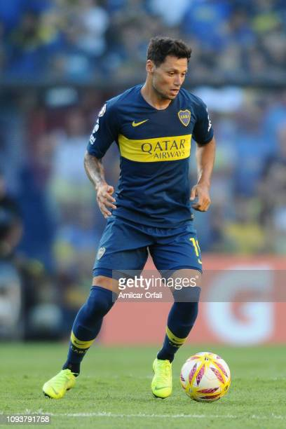 Mauro Zarate of Boca Juniors drives the ball during a match between Boca Juniors and Godoy Cruz as part of Superliga 2018/19 at Estadio Alberto J...