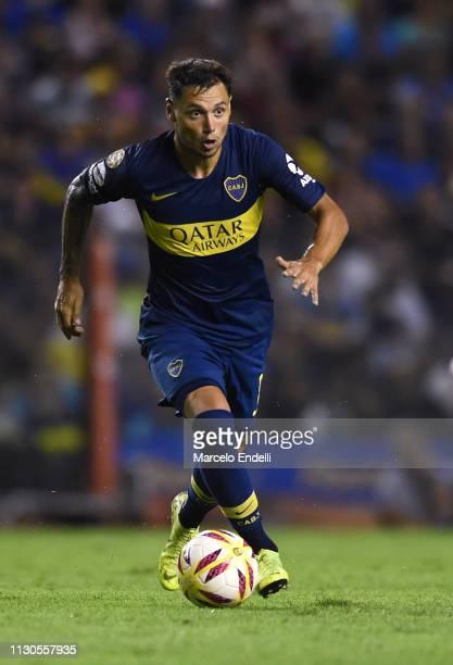 Mauro Zarate of Boca Juniors drives the ball during a match between Boca Juniors and Lanus as part of Superliga 2018/19 at Estadio Alberto J Armando...