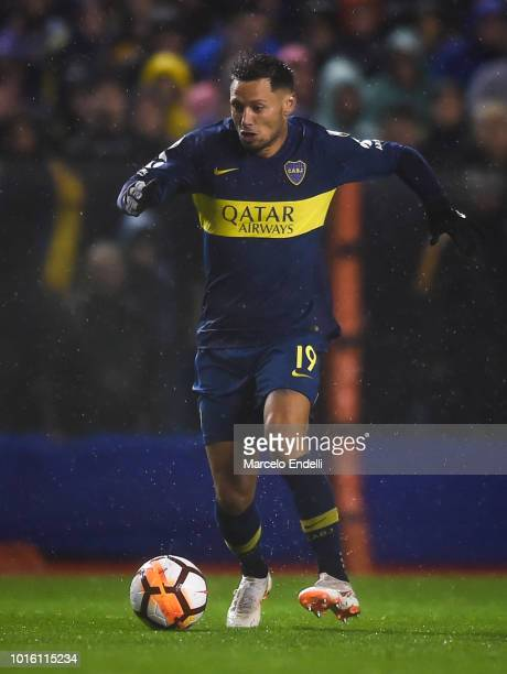 Mauro Zarate of Boca Juniors drives the ball during a round of sixteen first leg match between Boca Juniors and Libertad as part of Copa CONMEBOL...