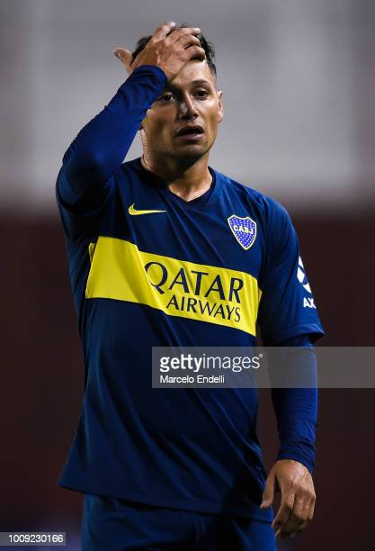 Mauro Zarate of Boca Juniors gestures during a match between Boca Juniors and Alvarado as part of Round of 64 of Copa Argentina 2018 on August 1 2018...