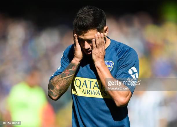 Mauro Zarate of Boca Juniors gestures during a match between Boca Juniors and Talleres as part of Superliga Argentina 2018/19 at Estadio Alberto J...