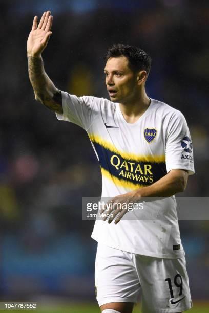 Mauro Zarate of Boca Juniors gestures during a match between Boca Juniors and Colon as part of Superliga 2018/19 at Estadio Alberto J Armando on...