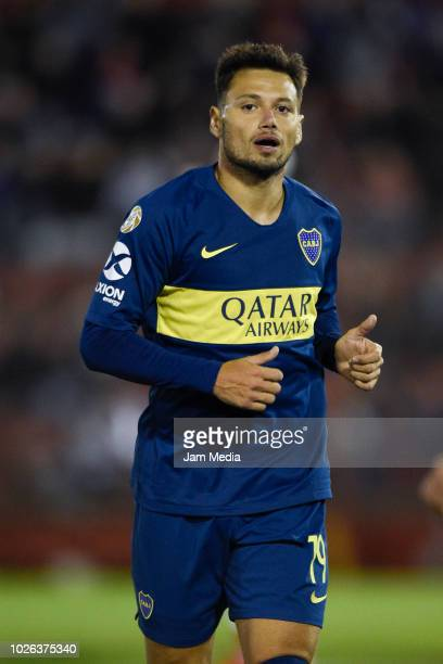 Mauro Zarate of Boca Juniors in action during a match between Huracan and Boca Juniors as part of Superliga Argentina 2018/19 at Estadio Tomas Adolfo...