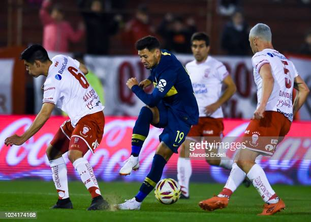 Mauro Zarate of Boca Juniors kicks the ball during a match between Huracan and Boca Juniors as part of Superliga Argentina 2018/19 at Estadio Tomas...