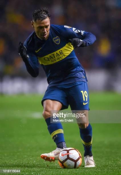 Mauro Zarate of Boca Juniors kicks the ball during a round of sixteen first leg match between Boca Juniors and Libertad as part of Copa CONMEBOL...