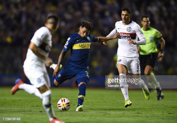 Mauro Zarate of Boca Juniors kicks the ball to score the first goal of his team during a match between Boca Juniors and San Lorenzo as part of...