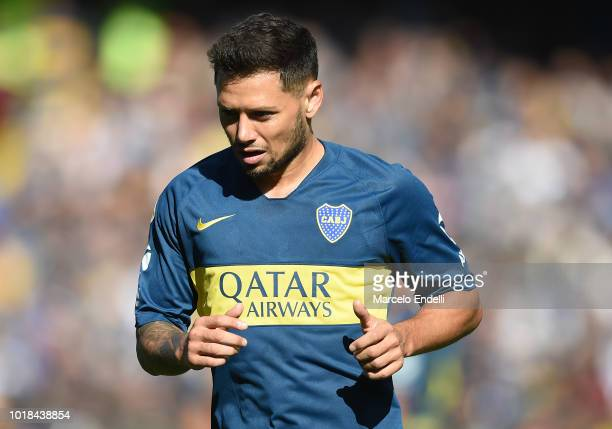 Mauro Zarate of Boca Juniors looks on during a match between Boca Juniors and Talleres as part of Superliga Argentina 2018/19 at Estadio Alberto J...