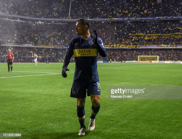 Mauro Zarate of Boca Juniors looks on during a round of sixteen first leg match between Boca Juniors and Libertad as part of Copa CONMEBOL...