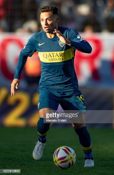 Mauro Zarate of Boca Juniors of Boca Juniors drives the ball during a match between Estudiantes and Boca Juniors as part of Superliga Argentina...