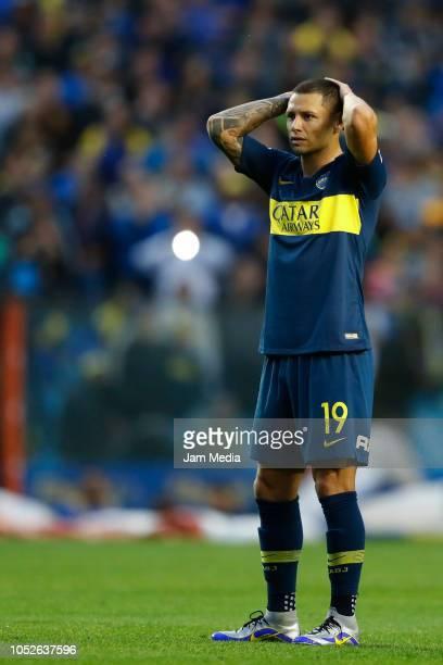 Mauro Zarate of Boca Juniors reacts during a match between Boca Juniors and Rosario Central as part of Superliga 2018/19 at Alberto J Armando Stadium...