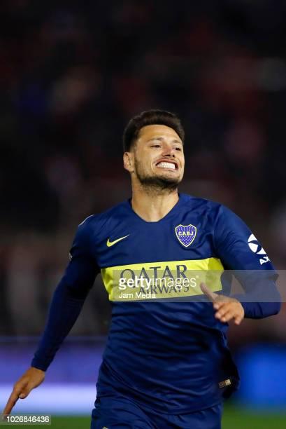 Mauro Zarate of Boca Juniors reacts during a match between Huracan and Boca Juniors as part of Superliga Argentina 2018/19 at Estadio Tomas Adolfo...