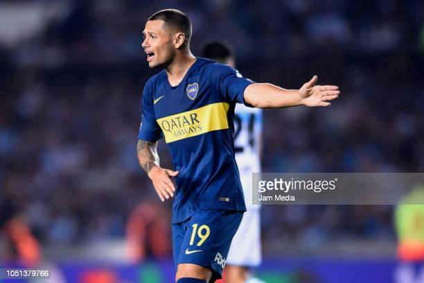 Mauro Zarate of Boca Juniors reacts during a match between Racing Club and Boca Juniors as part of Superliga 2018/19 at Juan Domingo Peron Stadium on...
