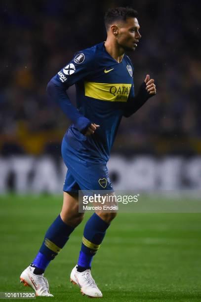 Mauro Zarate of Boca Juniors runs during a round of sixteen first leg match between Boca Juniors and Libertad as part of Copa CONMEBOL Libertadores...
