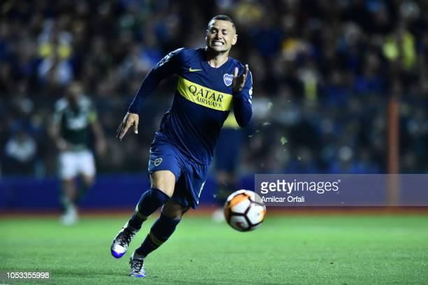 Mauro Zarate of Boca Juniors runs for the ball during the Semi Final firstleg match between Boca Juniors and Palmeiras as part of Copa CONMEBOL...