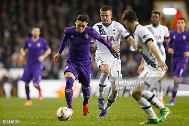 Mauro Zarate of Fiorentina and Eric Dier of Tottenham Hotspur compete for the ball during the UEFA Europa League round of 32 second leg match between...