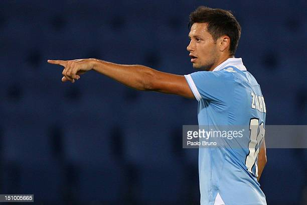 Mauro Zarate of SS Lazio gestures during the UEFA Europa League play-off round second leg match between SS Lazio and ND Mura 05 at Stadio Olimpico on...