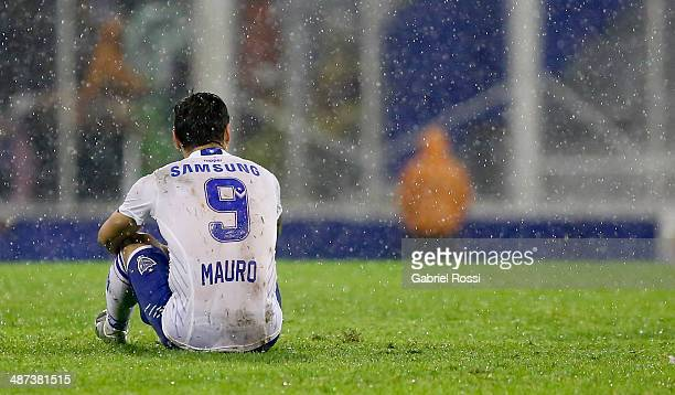 Mauro Zarate of Velez Sarsfield looks dejected during a match between Velez Sarsfield and Nacional as part of round sixteen of Copa Bridgestone...