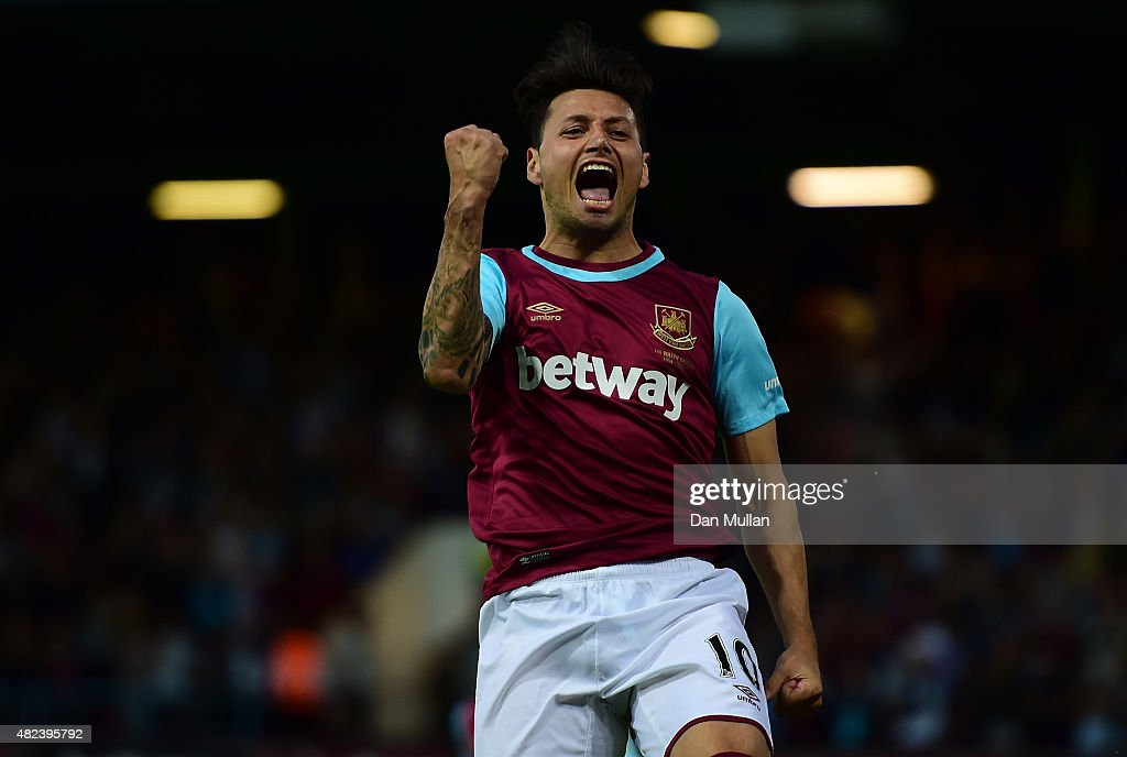 Mauro Zarate of West Ham celebrates scoring his side's second goal during the UEFA Europa League third qualifying round match between West Ham United and Astra Giurgiu at the Boleyn Ground on July 30, 2015 in London, England.