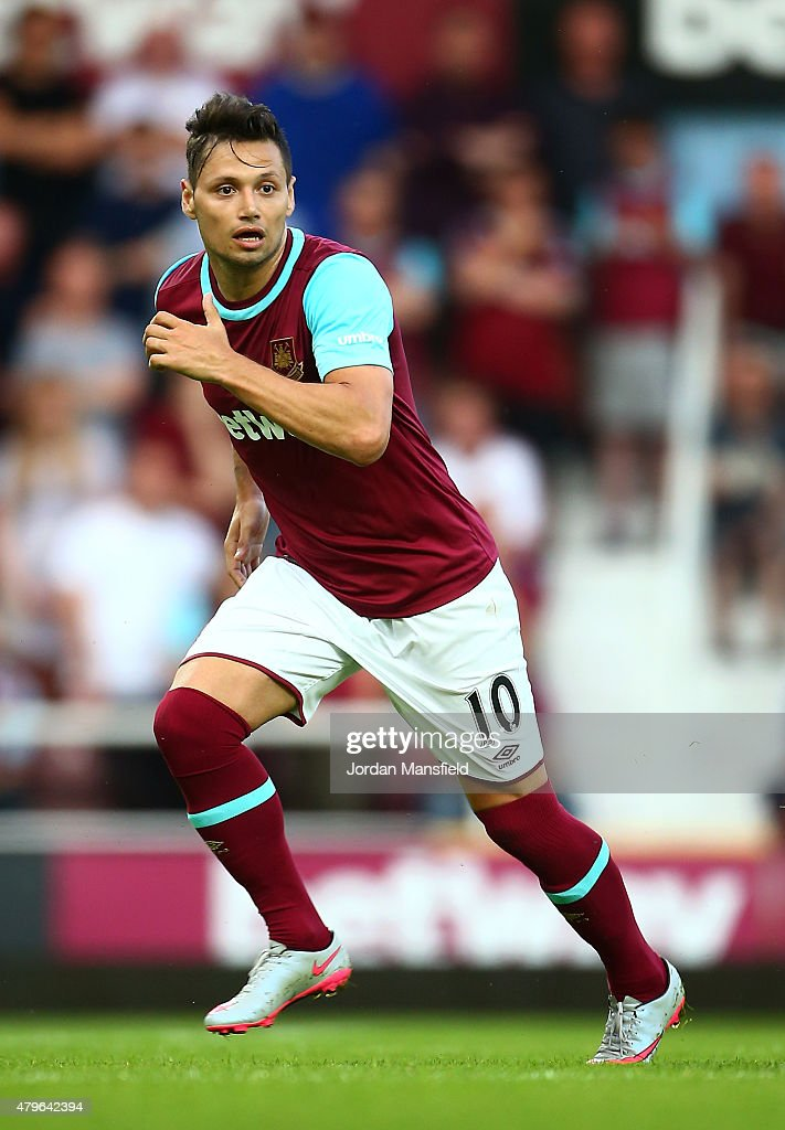 Mauro Zarate of West Ham in action during the UEFA Europa League match between West Ham United and FC Lusitans at Boleyn Ground on July 2, 2015 in London, England.