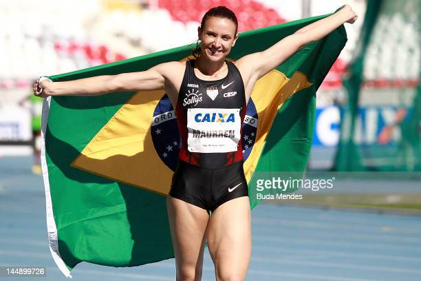 Maurrem Maggi of Brazil celebrates a victory during Long Jump at the GP Brazil Caixa 2012 at Engenhao stadium on May 20, 2012 in Rio de Janeiro,...